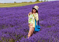 Tourist posing in Lavender Field, Snowshill, July 2017