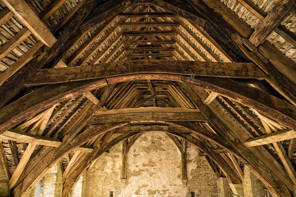 The Great Hall Roof Timbers, Stokesay Castle, April 2017